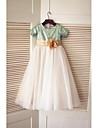 A-line Floor-length Flower Girl Dress - Tulle / Sequined Short Sleeve
