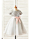 A-line Knee-length Flower Girl Dress - Tulle / Sequined Short Sleeve