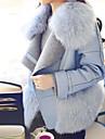 여성의 솔리드 셔츠 카라 긴 소매 코트-플러스 사이즈 블루 울 / 그외 가을 중간