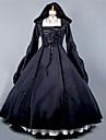 Une Piece/Robes Gothique Steampunk® Cosplay Vetrements Lolita Noir Retro Poete Manches longues Long Robe Pour Coton Terylene