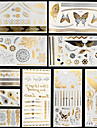 10 Tatouages Autocollants Series bijoux Series de fleur Series de totem AutresNon Toxique Motif Halloween Hawaien Bas du Dos Impermeable