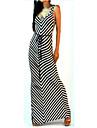 Women\'s Beach Bodycon Dress,Striped Deep U Maxi Sleeveless Black Polyester Summer
