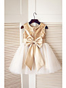 A-line Knee-length Flower Girl Dress - Tulle / Sequined Sleeveless Jewel with Bow(s) / Sequins
