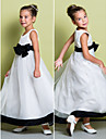A-line Ankle-length Flower Girl Dress - Organza Sleeveless Scoop with Bow(s)