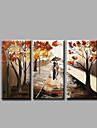 Peint a la main Abstrait / Paysages AbstraitsModern Trois Panneaux Toile Peinture a l\'huile Hang-peint For Decoration d\'interieur