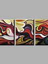 redo att hänga sträckte handmålad oljemålning på duk vägg konst contempory abstrakt brun mörk tre panel