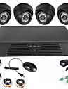 4CH Full D1 DVR Motion Detection CCTV Home Security Kit 600TVL Night Vision Dome Cameras