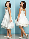 Knee-length Chiffon / Lace Junior Bridesmaid Dress - Ivory A-line V-neck