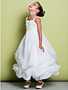 A-line Ankle-length Flower Girl Dress - Organza Sleeveless