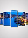 Fritid / Landskap / Arkitektur / Fotografisk / Romantik Canvastryck Fem paneler Redo att hänga , Horisontell