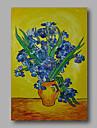 handbemalte abstrakte OElgemaelde Leinwand Van Gogh repro blaue Iris im Vase Home Deco einem Panel