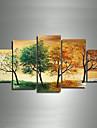 Handgemaltes modernes Landschafts 4 season tree Bilder OElgemaelde auf Segeltuch 5pcs / set keinen Rahmen