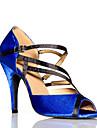 Chaussures de danse ( Bleu ) - Non personnalisable - Talon aiguille - Cuir - Danse latine