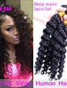 """Cheveux boucles 10 """"-26"""" bresiliens 3pcs cheveux vierges grade 7a bresilien regroupe malaisien vague profonde de cheveux humains tissage"""