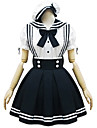 Black and White Polyester Maid Costume Type8