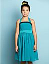Lanting Bride Knee-length Chiffon Junior Bridesmaid Dress - Mini Me A-line Halter with Draping