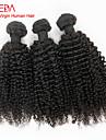"""3pcs / lot 8 """"-30"""" peruvien cheveux crepus naturelle vierge noire boucle extensions de cheveux humains tisse les cheveux enchevetrement"""