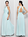 Lanting Floor-length Chiffon Bridesmaid Dress - Sky Blue Sheath/Column Jewel