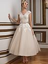 Hochzeitskleid - Champagner Spitze / Satin / Tuell - A-Linie - Knoechellaenge - V-Ausschnitt