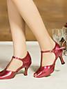 Chaussures de danse(Marron Rouge Blanc) -Non Personnalisables-Talon Bobine-Satin Cuir-Latine