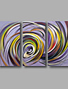 Ready to Hang Hand-Painted Oil Painting on Canvas Wall Art Modern Purple Yellow Home Deco Abstract Three Panels