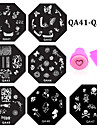 10pcs nail plates+ 1set nail stamper and scraper - Autre decorations - Doigt / Orteil - en Fleur - 6.0cm for dia