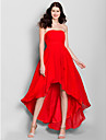 Lanting Bride® Asymmetrical Chiffon Bridesmaid Dress - A-line Strapless with Side Draping