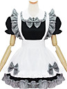 Une Piece/Robes Tenus de Servante Lolita Classique/Traditionnelle Lolita Cosplay Vetrements Lolita Noir Blanc Imprime Couleur Pleine