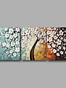 "Ready to Hang Stretched Hand-painted Oil Painting 60""x24"" Three Panels Canvas Wall Art White Blossom Flowers"