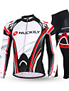 NUCKILY® Maillot et Cuissard Long de Cyclisme Homme Manches longues VeloRespirable / Garder au chaud / Design Anatomique / Doublure