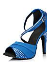 Chaussures de danse(Bleu Violet) -Non Personnalisables-Talon Aiguille-Satin Cuir-Latine