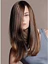 dame de la mode a long couleur brun droites belles perruques