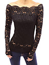 Women\'s Vogue Lace Bateau Long Sleeve Hollow Out Lace T-shirt