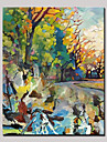 handmålade lummiga träd abstrakt landskap modern oljemålning, duk en panel med ram redo att hänga