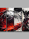 HANDMÅLAD AbstraktModerna Fyra paneler Kanvas Hang målad oljemålning For Hem-dekoration