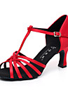 Non Customizable Women\'s Dance Shoes Latin / Salsa Satin / Flocking Flared Heel Black