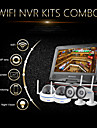 "szsinocam®4ch 720p 1.0mp wifi NVR kit, med 10,1 ""ledde, 2st metall dome + 2st vattentät wifi ip kamera, stöd p2p"