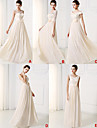 Floor-length Chiffon / Lace Bridesmaid Dress A-line Sweetheart withAppliques / Bow(s) / Flower(s) / Lace / Pearl Detailing / Sash /