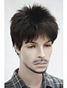 snygg syntetisk svart brunt kort fullt Hjälp kort lurvig naturligt wavy Capless för män peruk