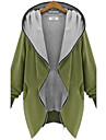 Women\'s V Neck Zipper Plus Size Hooded Cardigan Coat