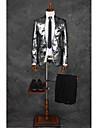 Costume Fit Croit Guler mandarin Un singur rând, un nasture Poliester Model 2 Bucăți Gri Deschis Drept cu Clapă Dublu (Două) Gri Deschis