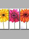 """redo att hänga handmålade oljemålning duk tre paneler 48 """"x32"""" väggkonst contempory abstrakt orange gul rosa"""