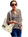 kvinders leopard stå krave chiffon flanger lang ærmet chiffon bluse shirt plus size