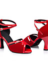 Non Customizable Women\'s Dance Shoes Latin Leather / Patent Leather Cuban Heel Black / Red