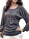 Women\'s Solid Black/Gray/Wine T-shirt,Casual Round Neck Batwing Long Sleeve Botton