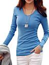 T-shirt Da donna Casual / Taglie forti Semplice / Moda cittaTinta unita A V Cotone Blu / Bianco / Nero Manica lunga Medio spessore