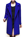 Women\'s Coat,Solid / Patchwork Peaked Lapel Long Sleeve Winter Blue / Black / Yellow Wool / Others Thick