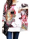Femei Rotund Bluză Casul/Zilnic Boho,Floral Manșon scurt Toate Sezoanele-Multi-color Subțire