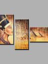Pictat manual Abstract / Oameni / Culoarea pielii / Portrete AbstracteModern Trei Panouri Canava Hang-pictate pictură în ulei For Pagina