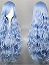Perruques de lolita Doux Elegant Long Bleu Perruques de Lolita 90 CM Perruques de Cosplay Couleur Pleine Perruque Pour Femme